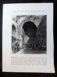 Picturesque Europe C1875 Antique Print. Gate of the Mosque in the Alhambra Spain
